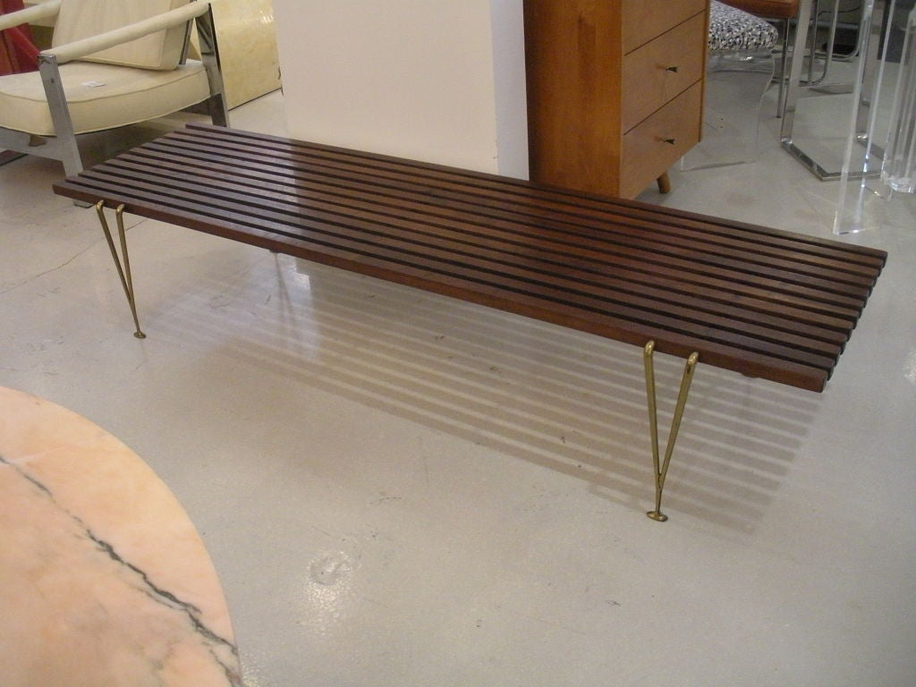 Hugh Acton Walnut And Brass Mid Century Bench Table At 1stdibs