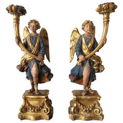 Pair of 18th Century Italian Angel Candle Prickets
