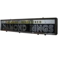 "Vintage Sign ""Genuine Registered Diamond Rings"""