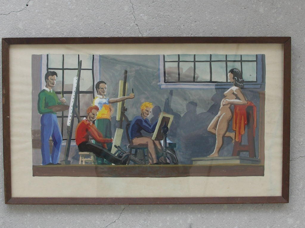 Vintage watercolor circa 1950s depicting a group of male art students painting nude female model.