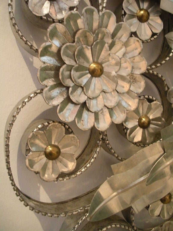 Vintage Mexican Tin Mirror Encrusted With Flowers At 1stdibs
