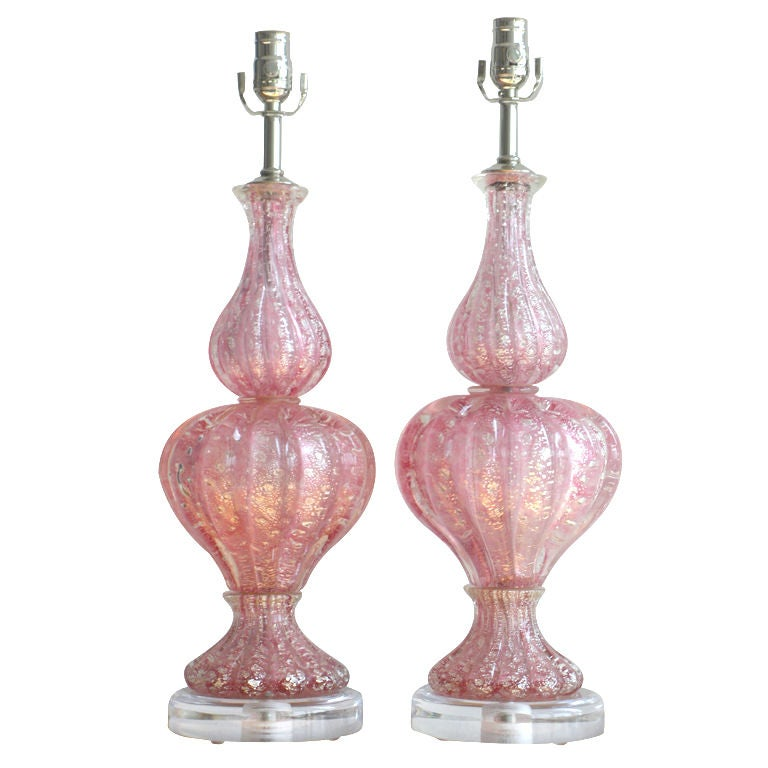 pair of vintage pink murano glass lamps 1