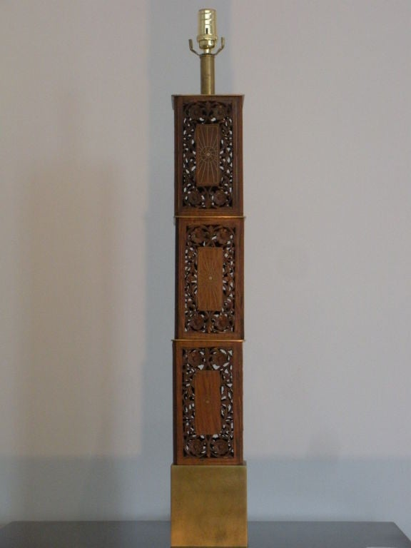 Pair of Indomania Carved Teak and Brass Inlay Lamps 10