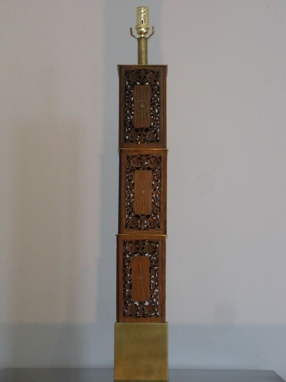 Pair of Indomania Carved Teak and Brass Inlay Lamps 2