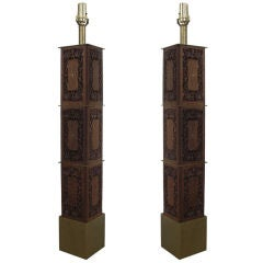 Pair of Indomania Carved Teak and Brass Inlay Lamps