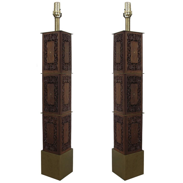 Pair of Indomania Carved Teak and Brass Inlay Lamps 1