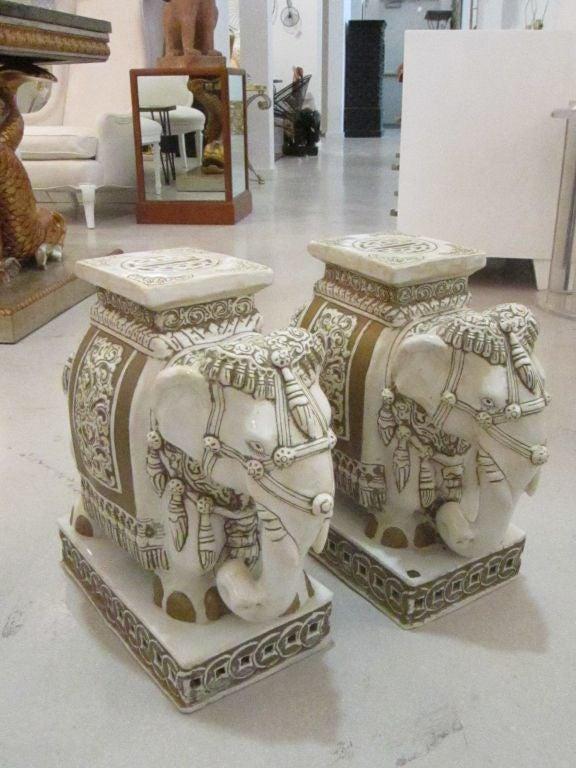 Pair Of Elaborate Glazed Terracotta Elephant Garden Seats