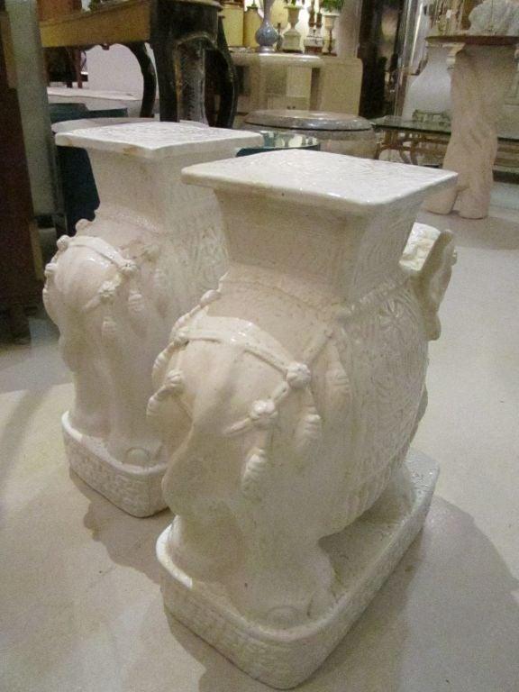 Par Of Vintage White Elephant Garden Seats At 1stdibs