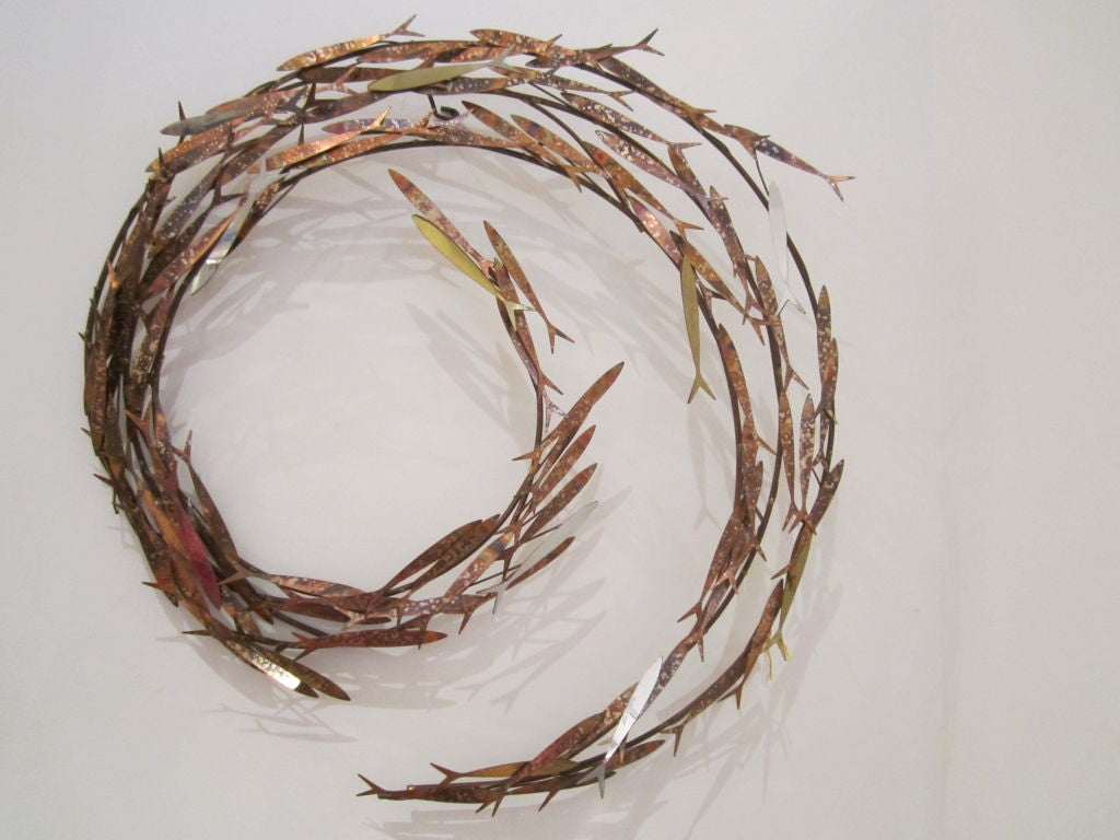 C jere school of fish wall sculpture at 1stdibs for Fish wall sculptures