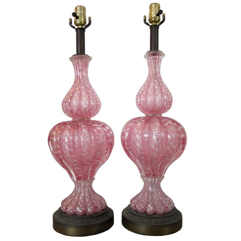 Vintage Pair Of Pink Murano Glass Lamps 1