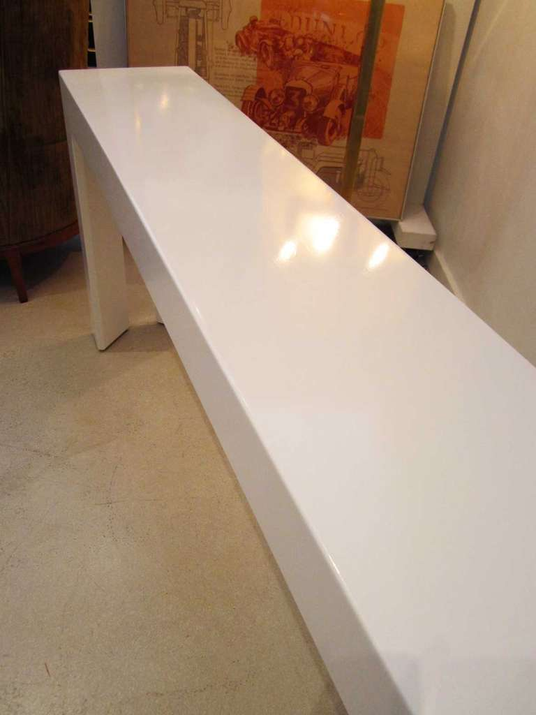 White lacquered mid century modern skinny console table at 1stdibs