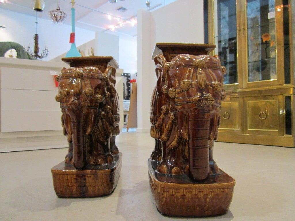 Pair Of Brown Terra Cotta Elephant Garden Seats For Sale
