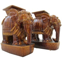 Pair of Brown Terracotta Elephant Garden Seats