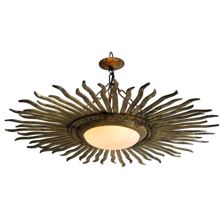 Gilt Sunburst Light Fixture At 1stdibs