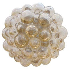 Amber Glass Bubble Flushmount Light Fixture