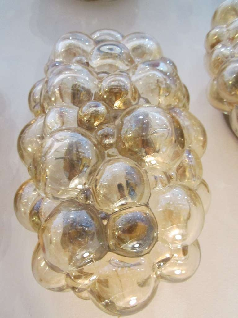 Amber Glass Bubble Flushmount Light Fixture At 1stdibs