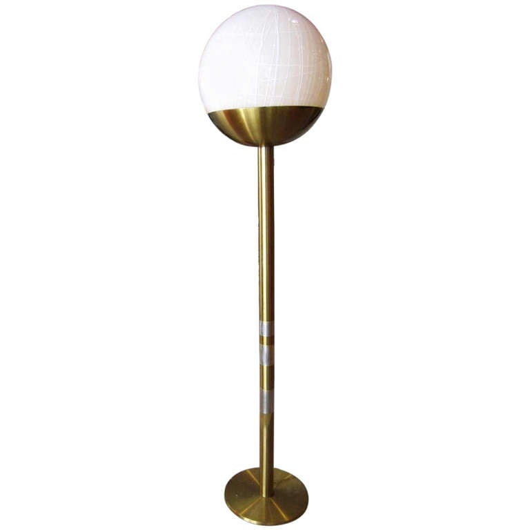 mid century modern floor lamp with murano glass ball at 1stdibs. Black Bedroom Furniture Sets. Home Design Ideas