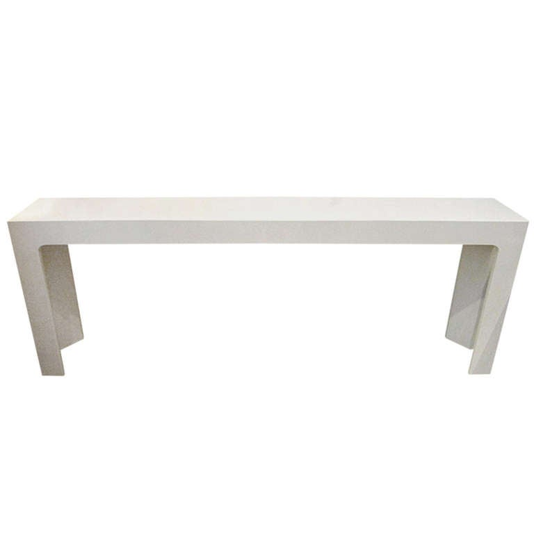 White Lacquered Mid Century Modern Skinny Console Table At