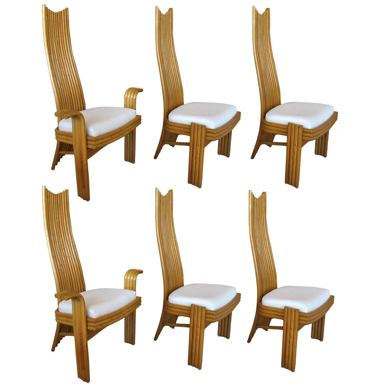 Set Of Six Rattan McGuire High Back Chairs 1