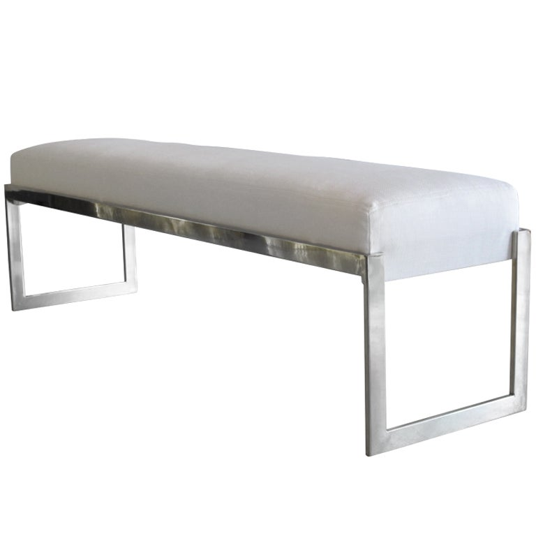 Mid Century Geometric Nickel Bench At 1stdibs
