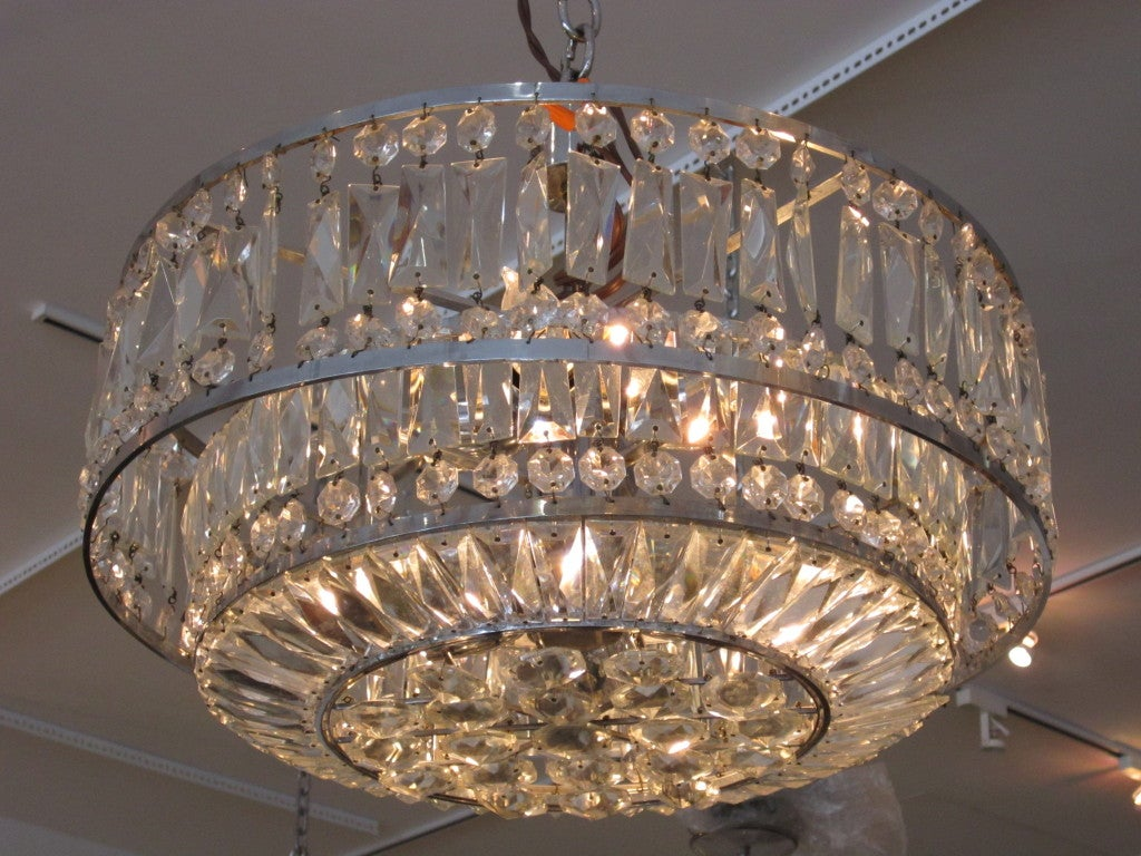 Faceted crystal art deco chandelier at 1stdibs faceted crystal art deco chandelier 2 arubaitofo Images