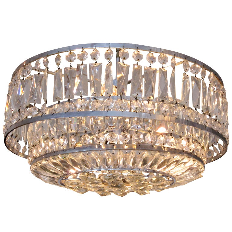 Faceted Crystal Art Deco Chandelier At 1stdibs