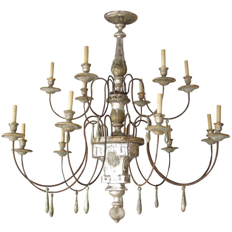 Silver Gilt Wood and Iron Chandelier at 1stdibs – Wood Iron Chandelier