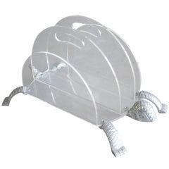 Lucite Turtle Magazine Rack