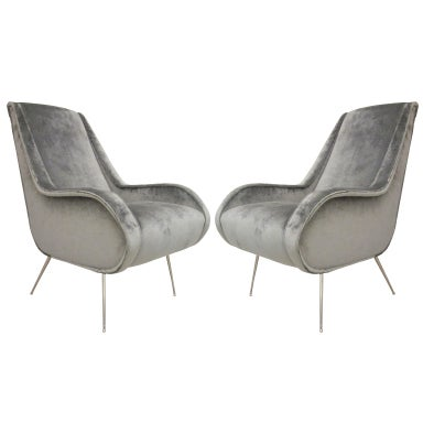 Pair of Italian Mid Century Modern Armchairs with Nickel Legs at