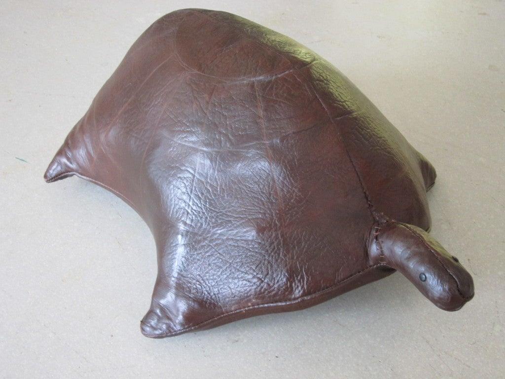 Vintage Leather Turtle Ottoman image 2