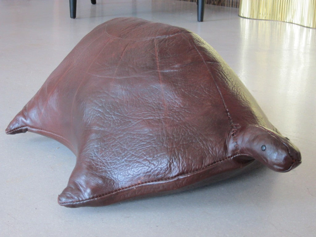 Vintage Leather Turtle Ottoman image 3