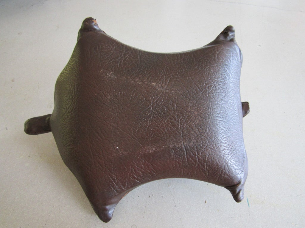 Vintage Leather Turtle Ottoman 4