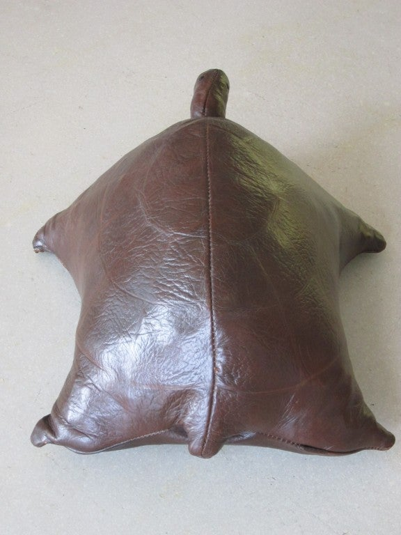 Vintage Leather Turtle Ottoman image 9