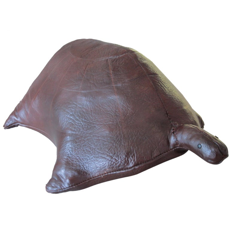 Vintage Leather Turtle Ottoman 1