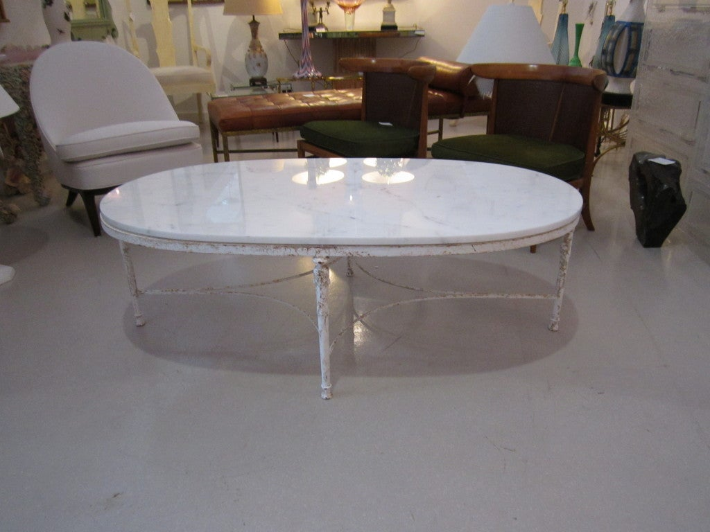 shabby chic oval coffee table with marble top at stdibs - shabby chic oval coffee table with marble top