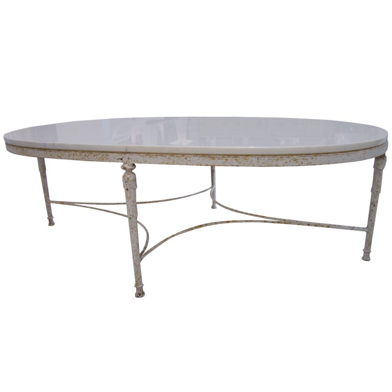 Shabby Chic Coffee Table Nz: Shabby Chic Oval Coffee Table With Marble Top At 1stdibs