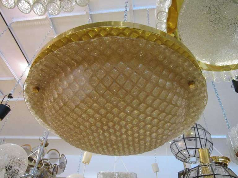 Honeycomb Patterned Glass Flush Mount Light Fixture At 1stdibs
