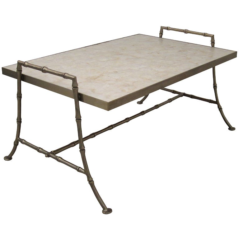 Round White Capiz Coffee Table: Faux Bamboo Steel Coffee Table With Capiz Shell Top At 1stdibs