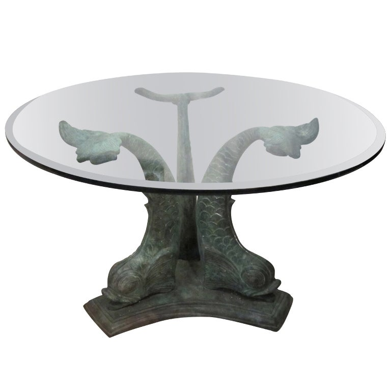 Dolphin Dining Table With Verdigris Patina 1