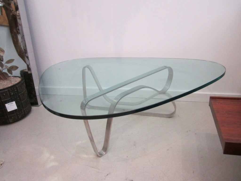 Noguchi Style Steel Coffee Table at 1stdibs