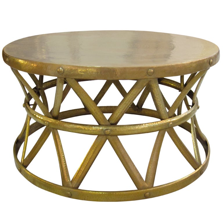 Hammered Drum Coffee Table: Large Hammered Brass Drum Table