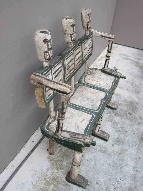 Folk Art Hand Carved Skeleton Bench For Sale At 1stdibs