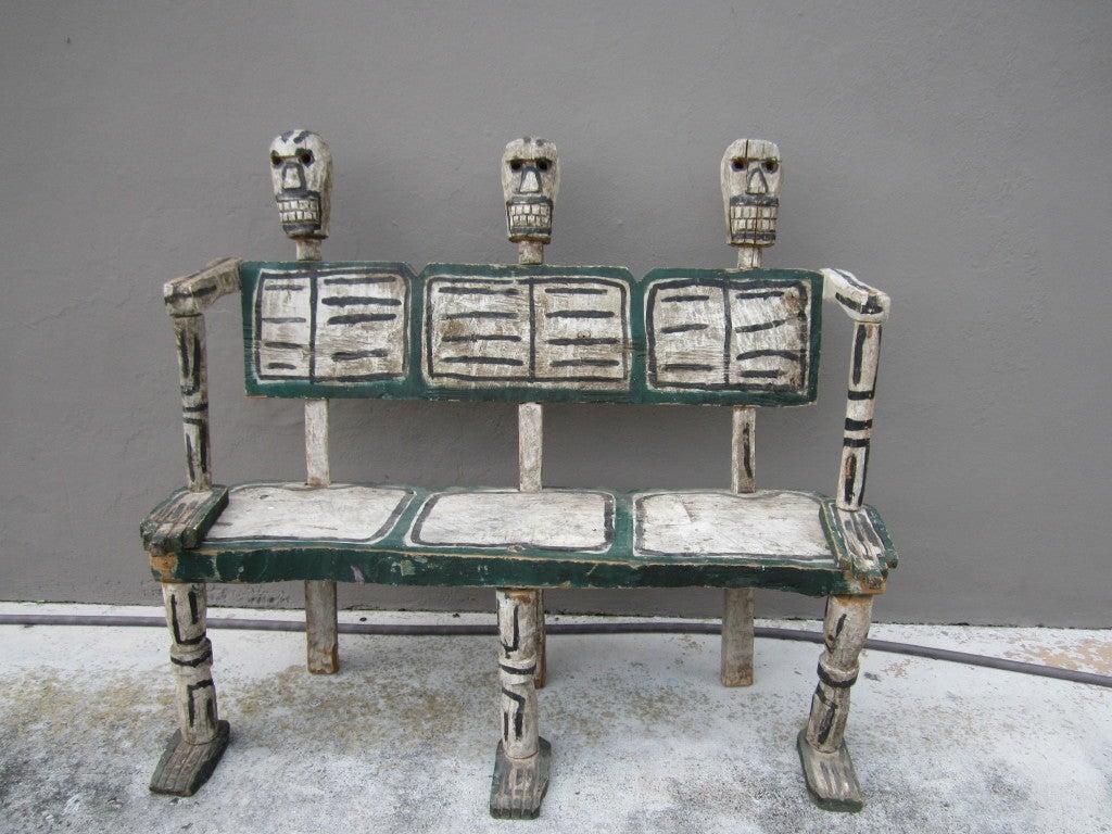 Folk Art Hand-Carved Skeleton Bench For Sale At 1stdibs