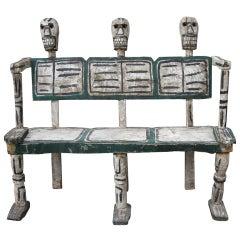 Folk Art Hand-Carved Skeleton Bench