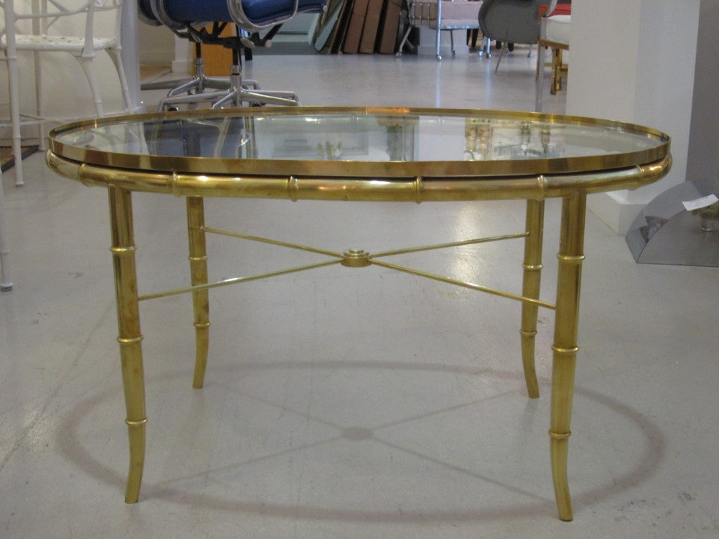 American Mastercraft Brass Oval Table For Sale