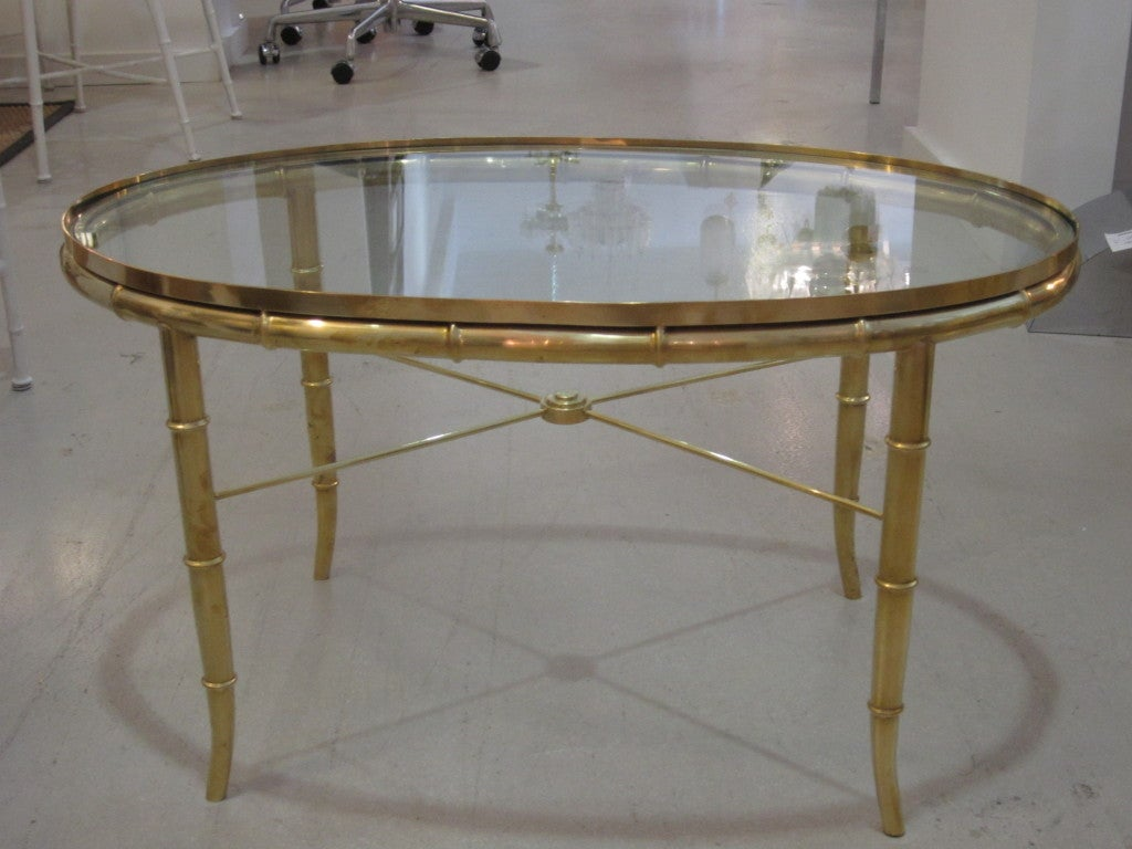 Mastercraft Brass Oval Table In Good Condition For Sale In West Palm Beach, FL