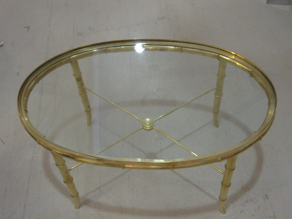 Late 20th Century Mastercraft Brass Oval Table For Sale