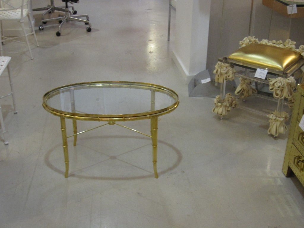 Mastercraft Brass Oval Table For Sale 1