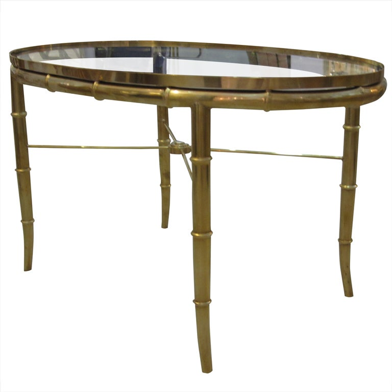 Mastercraft Brass Oval Table For Sale