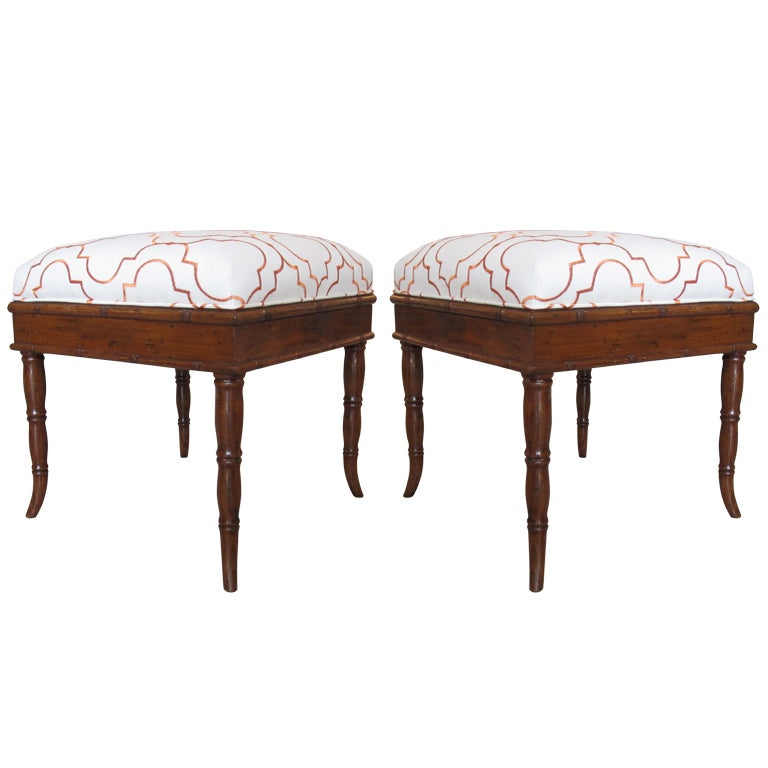 Pair Of Faux Bamboo Stools With Orange And White Fabric At
